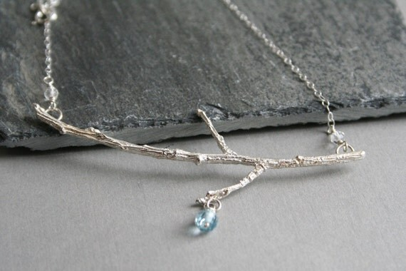 Sterling Silver Branch Necklace with Sky Blue Topaz & Quartz