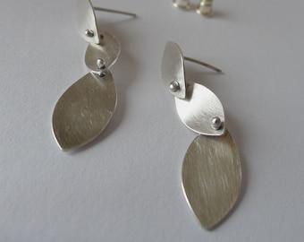 Triple Petal Earrings Sterling Silver