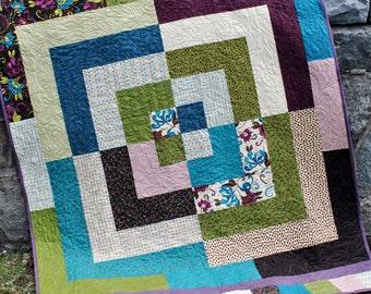PDF Lap Quilt Pattern, Patchwork Quilt Pattern... Dessert Roll, Revolution