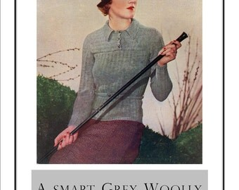1935 Sports Sweater in Grey  ladies Vintage Knitting Pattern PDF Instant Download