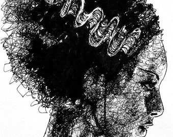 "Print 8x10"" - Bride of Frankenstein - Dark Art Classic Horror Gothic Spooky Dracula Vintage Creepy Rockabilly Victorian Punk Pop"