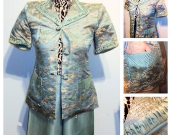 1940's Asian Silk Brocade Hostess Set.  Jacket & Wide Legged Pants