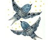 Bird wall art - Indigo Birds - large archival print - decor for kids room
