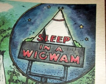 WigWam Village Kentucky Art Print 5x7 Teepee Motel by Agorables Lovers of Historic Roadside America