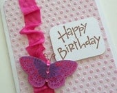 Modern   Birthday Card with Hot Pink Butterfly on Embossed Cardstock