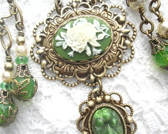 Victorian Style Green and Ivory Floral Cameo Necklace and Earring Set