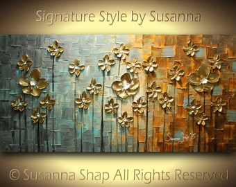 ORIGINAL Abstract Contemporary Heavy Texture Brown Grey Gold Flowers Painting Palette Knife Impasto Landscape by Susanna 48x24 Made2Order