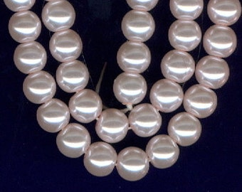 6mm Blush Pink Glass Pearl Round Beads