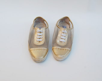 gold colored MESH sneakers 10