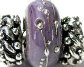 Soft Violet Silver Glass Charm Bead Large Hole Bead Lampwork Slider Bracelet Bead