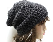 Womens Slouch Hat Crochet Slouchy Beanie Charcoal Grey Baggy Beanie Hipster Hat