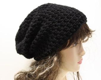Black Slouchy Beanie, Mens Womens Gamer Gear Biker Style Slouchy Hat