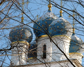 Ancient Architecture. Blue Onion Dome Church with gold stars. Kolomenskoe Moscow, Russia.