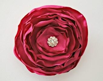 Hot Pink Hair Flower Accessories, Bridesmaids Hair Accessories, Satin Layered Flower, Pink Hair Clip, Cabbage Style Hair Flower, Rhinestone