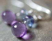 Purple Amethyst Blue Quartz Wire Wrapped Sterling Silver Gemstone Earrings, French Hooks