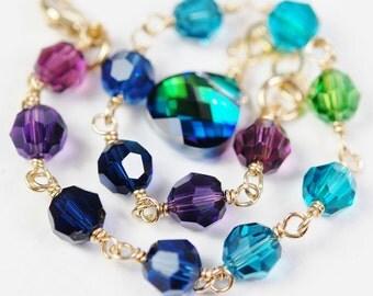 Peacock Bracelet, Swarovski Crystal 14K Gold Filled, Adjustable, Bridesmaid Gift, Blue Purple Green Teal