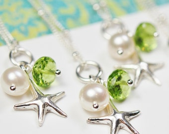 Bridesmaid Necklace, Starfish, Choose Your Gemstone, Sterling Silver, Peridot Shown, Pearl, Adjustable, Flower Girl Wedding
