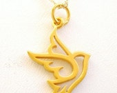 Holiday  SALE - Elegant Small 24kt Gold Vermeil PEACE Dove Necklace - Pretty Little Christmas Turtledove