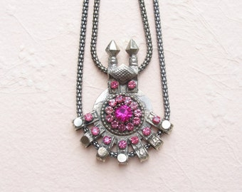 Modern Tribe Necklace - Tribal Ethnic Vintage Upcycled Statement Piece