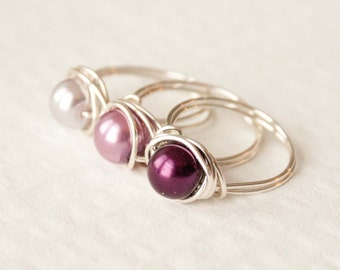 Purple Pearl Ring, Bridesmaid Jewelry, Wire Wrapped Ring