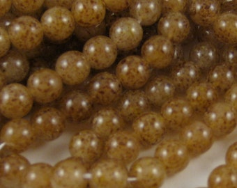 Czech Glass Beads (GB74) 25 Moonstone 8mm Round Druk Pressed Glass Fancy Beads