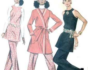 Vintage Sleeveless Tunic Sewing Pattern with Jacket Pants 1960s High Waist Flared Halter Top Belted Wrap McCalls 2128 36 bust