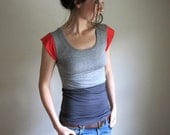 RESERVED - Slate, Heather and Poppy Color Block Tee / Blouse / Womens Top /  Yoga / top/ Modal Tshirt / Custom Made to Order