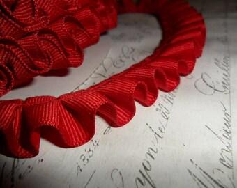 Christmas Red Grosgrain Box Pleat  Ruffle 7/8 wide ribbon trim