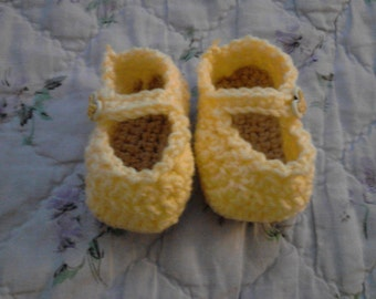 Small Mary Jane Style Baby Booties Yellow