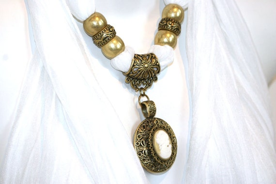 white scarves necklace scarf with pendant by