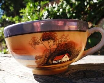 Vintage Lusterware Porcelain Tea Cups with Cottage Sunset Blue Gold Orange Brown Christmas epsteam Sale