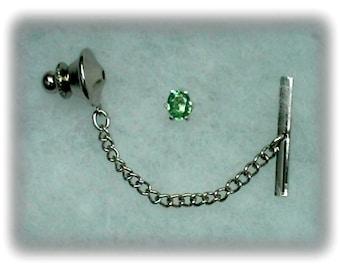 5x4mm Green Tsavorite Garnet Gemstone in 925 Sterling Silver Tie Tack