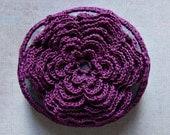 Crocheted Lace Stone, Multi-Layered Floral Motif, Purple, Handmade by Monicaj