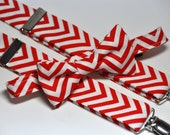Men's Bow Tie and Suspenders Red and White Chevron