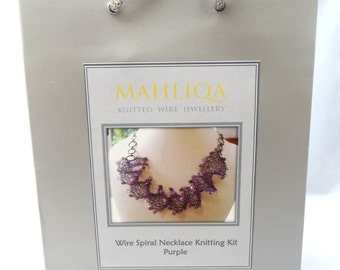 Wire Spiral Necklace Knitting Kit - Purple