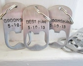 Bulk order wholesale Groomsmen/Bridal Party wedding Gifts with envelopes and blank cards, Personalized Stainless Steel bottle opener key