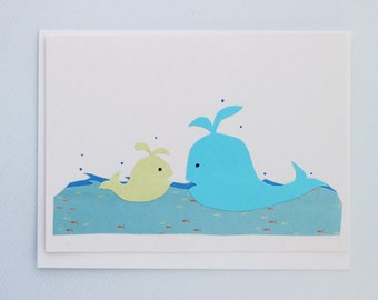 Mother and baby whales by Emily Lin