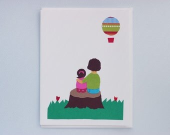 Mother and daughter hot air balloon - print card by Emily Lin