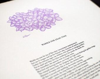 Warble for Lilac-Time / Letterpress Walt Whitman broadside