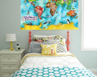 WORLD Map for kids 20 x 28 inch turquoise watercolor art nursery poster mungaro