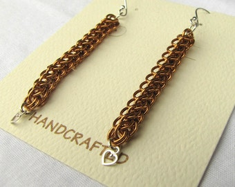 Natural bronze and Sterling silver 3/4 Persian chainmaille earrings