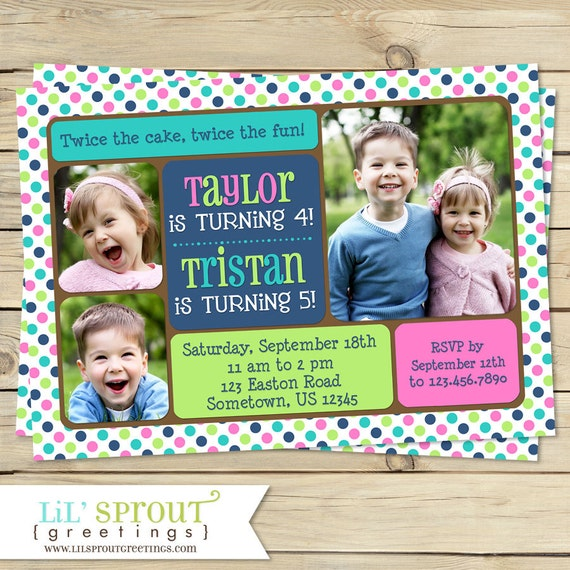 Printable Joint Birthday Party Invitations ~ Twin joint or sibling photo birthday invitation you print by lil sprout greetings catch my