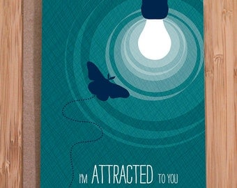 funny card / attracted moth