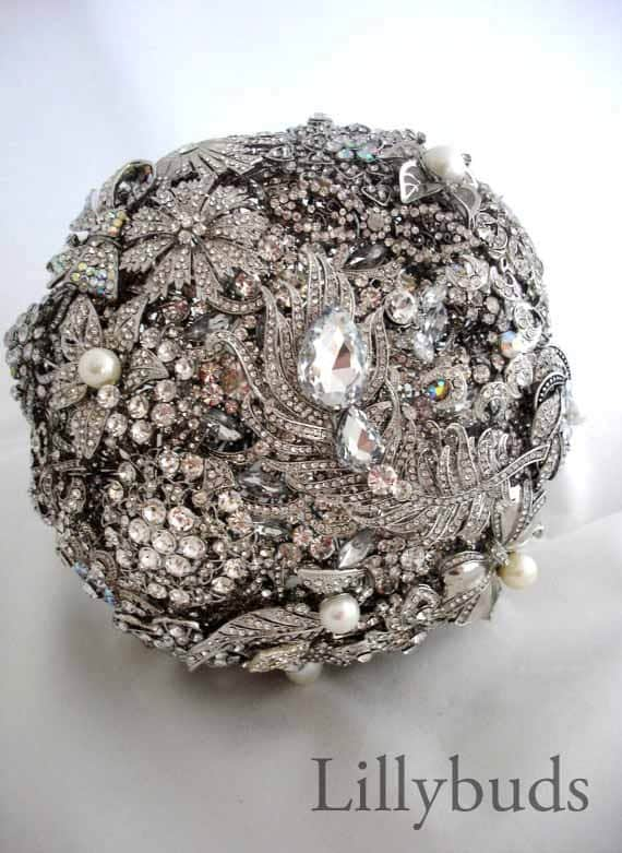 Lillybuds The Opulence Silver and Pearl Wedding Brooch Bouquet.