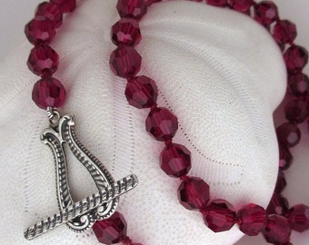 Swarovski Ruby Crystal Necklace, Cherry Red Hand Knotted Crystal Necklace, Red Beaded Necklace, Cranberry Red Necklace, Jessica