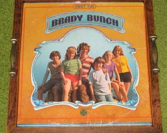 Recycled Picture Frame Vintage Record Album Cover Tray Art - Brady Bunch, home decor, decorative tray
