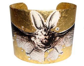 Bat - Gold Metal Leaf Medieval Gothic Steampunk Brass Cuff Bracelet With Swarovski Crystals