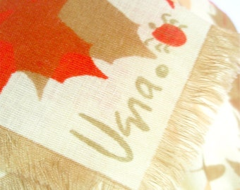 Wool Leaf Op-Art - a rare, vintage 1960's Vera Neumann Lucky Ladybug Pure Wool Scarf - 30 inches