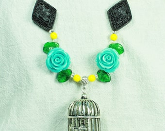 Birdcage and Roses Necklace in Turquoise and Yellow