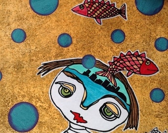 """12 x 12 mixed Media Painting """"Outta My Head"""""""